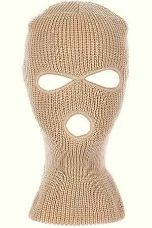 Khaki-beige knit balaclava mask