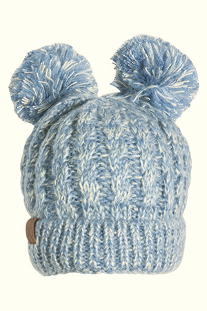 Light blue with white threads two pom poms beanie