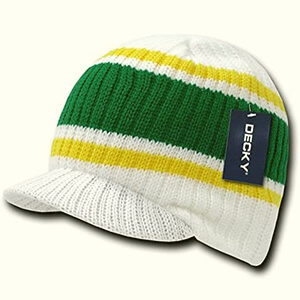 Mens White with green and yellow stripes beanie with bill