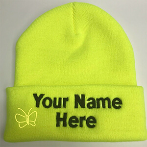 Neon yellow custom beanie with the folded part