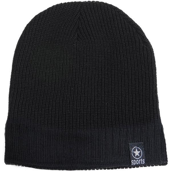 Black Two Stitch Patterns Fleece-lined Beanie