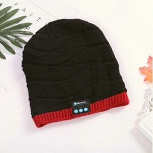 Black with red stripe beanie with headphones