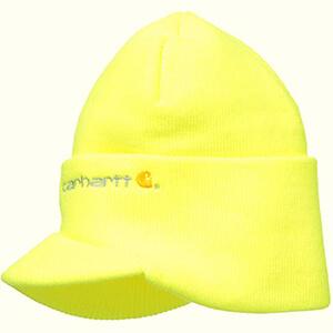 Brite lime-yellow Carhartt billed beanie