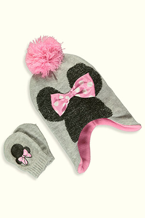Gray Minnie Mouse baby beanie with bow