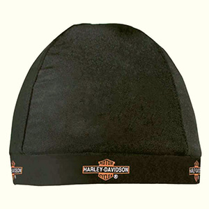 Harley-Davidson skull cap beanie with a repeated long bar and shield logo