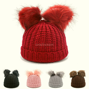 Red knit warm double fur pom poms beanie