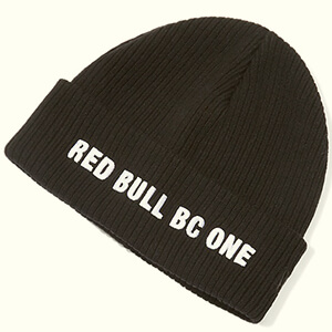Ribbed Red Bull beanie with white bold embroidery