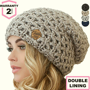 Slouchy beanie women's thick wool yarn
