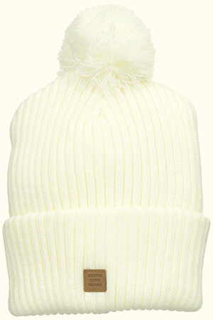White Elmer beanie with debossed leather label