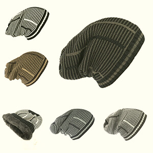 Black and brownish-gray thin stripes oversized beanie with fur fleece lining