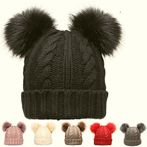 Black knit double fur pom poms beanie