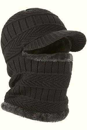 Black knit fleeced winter mask with bill