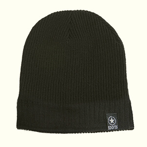 Black two stitch patterns fleece-lined beanie