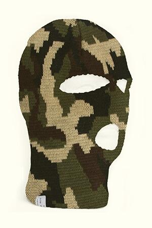 Camouflage knit balaclava face mask