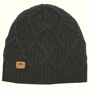 Cuffless cable knit Coal beanie