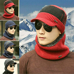 Mens Red with black strip beanie with bill