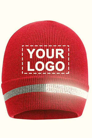 Red knit custom logo beanie with reflective stripe