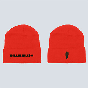 Red original Billie blohsh beanie with blohsh on one and Billie Eilish's script on the other side