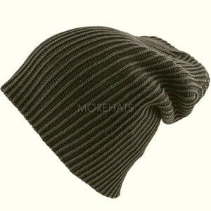 Ribbed dark gray skater boy's beanie
