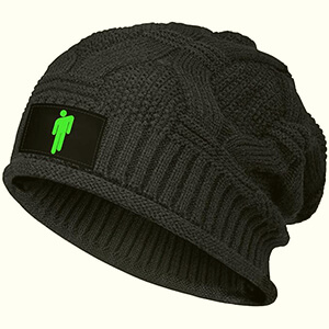 Billie Eilish black beanie very warm slouchy thick knit material with neon-green blohsh