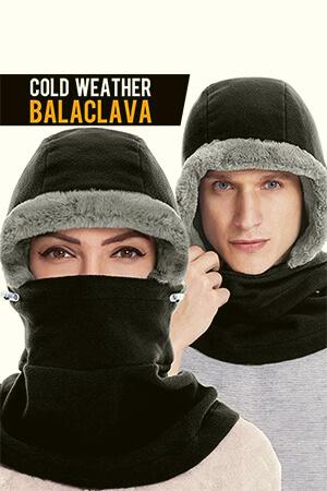 Black with gray fleece winter face cover