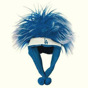 Blue troll hair LA Dodgers beanie