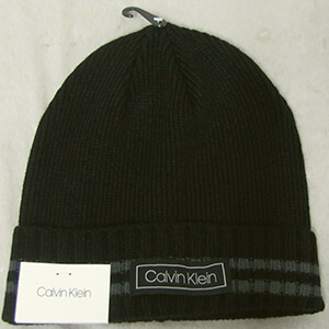 Calvin Klein beanie with two stripes on the cuff