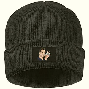 Classic black Tom Brady beanie with his photo and five rings