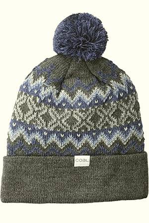 Decorative pattern Coal beanies with pom