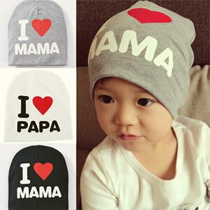Gray I love mama script baby boy's beanie hat