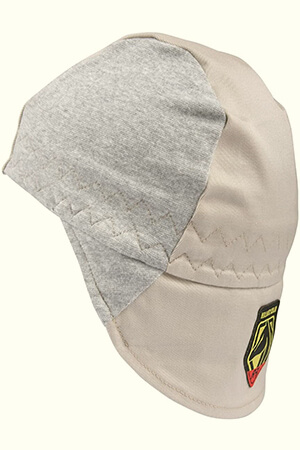 Gray-beige welding beanie with a hidden extension flap
