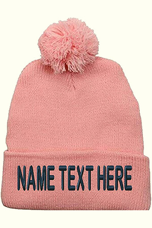 Light pink custom beanie with pom