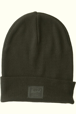 Monochrome Herschel beanie with leather label