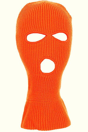 Neon orange winter face mask