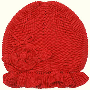 Red decorative knitting baby girl's beanie hat