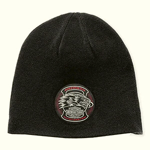 Reversible Harley-Davidson beanie with eagle patch
