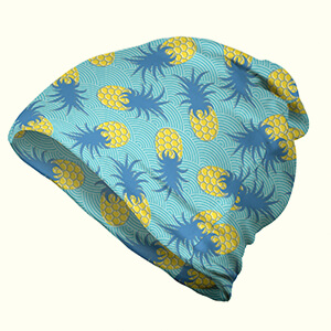 Tasty tropical summertime pineapple azure-blue-yellow thin beanie hat for summer
