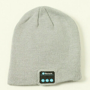Three colors beanie with headphones and black panel display