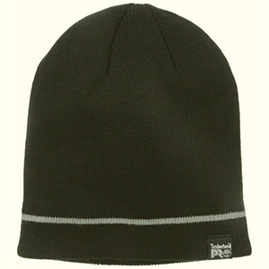 Black Timberland Pro beanie with a thin gray stripe