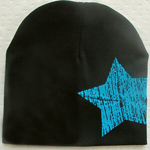 Black with blue star infant boy's beanies
