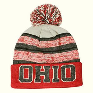 Blended red-white stripe Ohio state beanie with pom pom