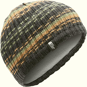 Dark gray with khaki stripes fleece-lined beanie men