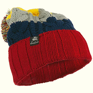 Mixed red-blue-gray-yellow colors oversized beanie