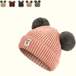 Pink baby girl's beanie hat with double gray pom poms