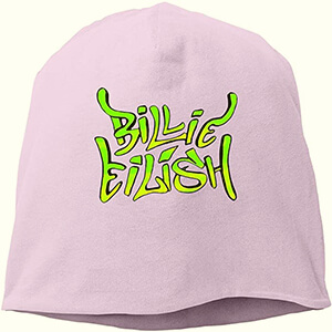 Slouchy and pink, gentle Billie Eilish beanie for all seasons with large neon-green Billie Eilish script