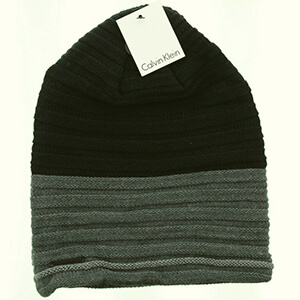 Slouchy knit Calvin Klein beanie with garter stripes