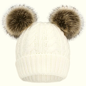 White double pom poms beanie with brown pom poms