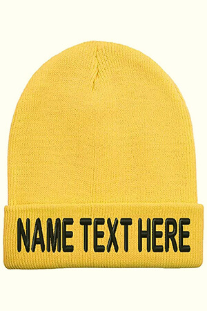 Yellow custom beanie hats with the folded part