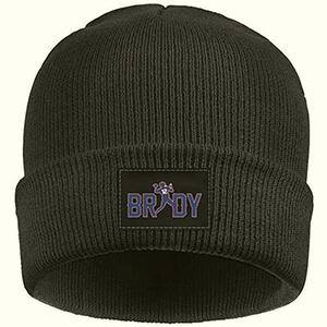 Black Tom Brady beanie with printed Brady's name