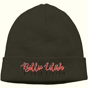 Double Billie Eilish script in black and red Billie Eilish black beanie